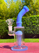 8and039and039 Hookah Glass Water Pipe Bong Thick Bubbler W Percolator Beaker Blue