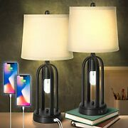 Modern Farmhouse Led Table Lamp Set Of 2 With Nightlight 22.8andrdquo H Dual 2 Pack