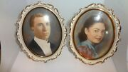 Vintage Small Pair Watercolor Portrait Paintings Man And Woman
