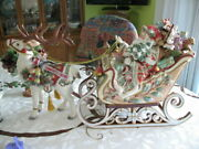 Fitz And Floyd Enchanted Holiday Santa Sleigh Soup Tureen Mint With Ladle And Bells