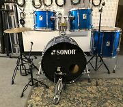 Sonor Force 4-piece Drum Set Lake Placid Blue - 2001 With Hardware