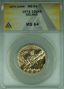 1974 10000 Kronur Iceland Gold Coin Anacs Ms-64