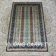 2.5and039x4and039 Striped Pattern Handknotted Silk Area Rug Luxury Classic Carpet H184b