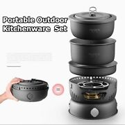 10 In1 Outdoor Camping Set Pot Pan Cookware Portable Non-stick Stove Utensils Us