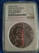2016p - Norse Gods - Odin - 2oz Silver - Pf70 High Relief Antiqued Coin - Ngc