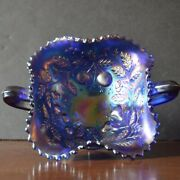 Antique Northwood Fruit And Flowers Electric Blue Carnival Glass Bonbon Dish