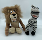 Russ Brand Madagascar Plush Lot Of 2 Pre-owned Alex The Lion And Marty The Zebra