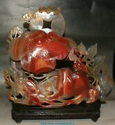 China Natural Red Agate Carving Ginseng Ganoderma Lucidum Gourd Bat Coin Statue