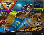 Monster Jam Official Champ Ramp Freestyle Playset Featuring Exclusive 164 Sca...
