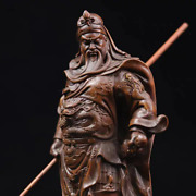 Boxwood Wood Old Hand Carved Guan Gong Yu Warrior God Broadsword Antique Statue