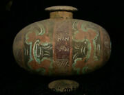 12 Antique China Tang San Cai Pottery Painting Dynasty Words Bottle Vase Jar