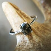 Salt And Pepper Band Wedding Ring 14k White Gold Natural Diamond Jewelry