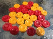 Vintage 1 1/2in Backgammon Bakelite Cherry Red And Light Yellow Checkers Set Of 30