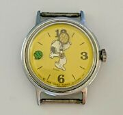 1958 Yellow Snoopy Watch Tennis Mystery Dial Floating Ball Wind-up Works Great