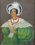 Stunning 19th C. Folk Art Portrait Exotic Woman In Green Dress Signed Dated 1836