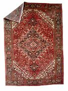 Authentic Antique Handmade Wool 8and039x11and039 3 Regional Heriz Rug Grey Vegetable Dyes