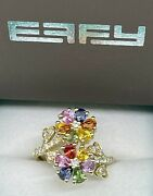 Effy 14k Gold Watercolors 3.27ctw Sapphire And Diamond Ring 4650 Retail