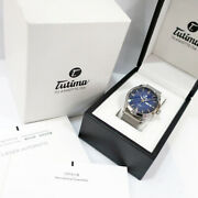 Tutima Freeger Sky 6105-22 Ss Blue Day-date Automatic Menand039s Watch Case 41mm