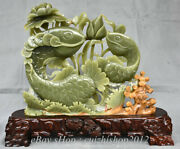 16 China Natural Green Jade Jumper Fishes Fish Waterlily Flower Money Statue