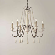 French Country 6-light Wooden Farmhouse Chandelier Hanging Pendant Light White