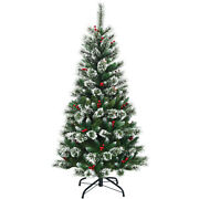 5 Ft Snow Flocked Artificial Christmas Hinged Tree W/ Pine Needles And Red Berries
