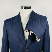 Canali Mens 42l Suit 34 X 31 Pleated Navy Striped Wool Cashmere Three Button