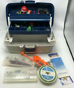 Vintage Plano Plastic Fishing Fish Tackle Box And Contents Lures Weights Bobbers