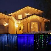 13ft 96 Led Fairy Icicle String Curtain Lights Outdoor Xmas W/ Memory Function