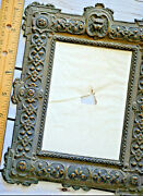 Rare 1890 Antique Embossed Tintype Royal Crest Lion Embossed Picture Frame