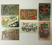 Lot Of 7 Antique Large Letter Postcards Daddie Mother Aunt Uncle My Love A14