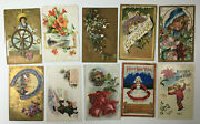 Collection Of 40 Old 1900s 1910s Antique / Vintage Happy New Years Postcards A15