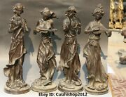 20 Old Chinese Copper Stand 4 Great Beauty Belle Peri Goddess Dance Statues Set