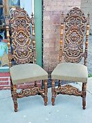 Tudor Ornate Antique Victorian Wood Carved William And Mary Throne Chair 2 Availa