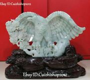 19 Statue Of Golden Eagle With Natural Jadeite Emerald And King Hawk