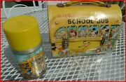 Vintage Walt Disney School Bus Lunch Box W/steel And Glass Thermos Excellent