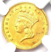 1857 Indian Gold Dollar G1 - Certified Ngc Au Details - Rare Early Coin
