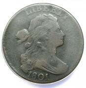 1801 Draped Bust Large Cent 1c - Certified Anacs Vf25 Details - Rare Coin