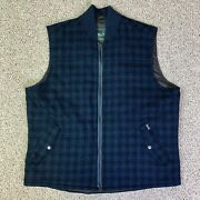 Woolrich Wool Vest Mens Large Blue Black Plaid Bear Claw Full Zip Lined Outdoors