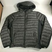 Abercrombie All Season Lightweight Down Jacket Hooded Small Gray Black