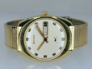 Vintage Mens 1970 Bulova 17j Golden Clipper N Automatic Day/date Serviced