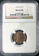 1917-d Lincoln Cent Ngc Certified Ms-63 Rb