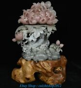 21.6 Old China Pink Xiu Jade Carving Magnolia Flower Base Ornaments Statue