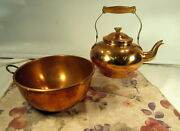 Lot Of 2 Solid Copper Antique Round Bowl And Odi Portugal Teapot