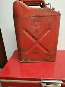 Vintage 1968 Us Red Metal Gas Jerry Can Army Military Fuel 5 Gallon Usmc Jeep