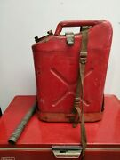 Vintage Us Red Metal Gas Jerry Can + Holder Military Fuel 5 Gallon Usmc Jeep