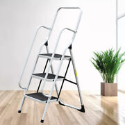 3 Tier Iron Ladder Folding Non Slip Safety Tread Industrial Home Use 150kg Load