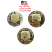 3 Pieces Of Donald Trump 2024 President Commemorative Challenge Coins Maga Eagle