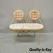 Vintage French Country Style Small Metal Wrought Iron Pink Settee Loveseat Bench