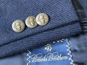 Brooks Brothers Logo Rare Bronze Buttons Blue Flannel Patch Pockets Jacket 44r