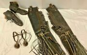 Antique Pair Mexican Parade Spurs Chaps Boots Silver Inlay Western Cowboy Spurs